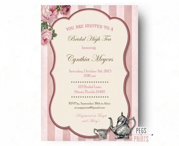 fb59fd37f1c4 Bridal High Tea Invitation    Printable High Tea Invites    Bridal Shower  Tea Party Invitation    Garden Bridal Shower    Rose Garden Party