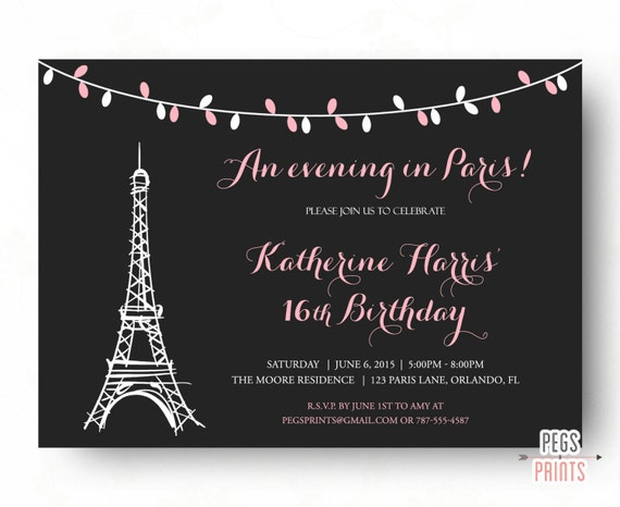 Paris Sweet 16 Birthday Invitations Printable Theme