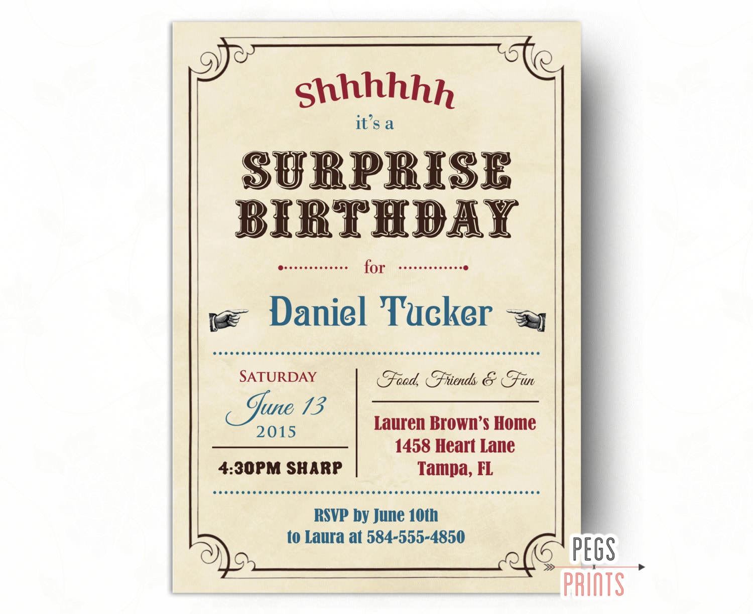 Adult Surprise Birthday Invites Vintage Surprise Party | Etsy