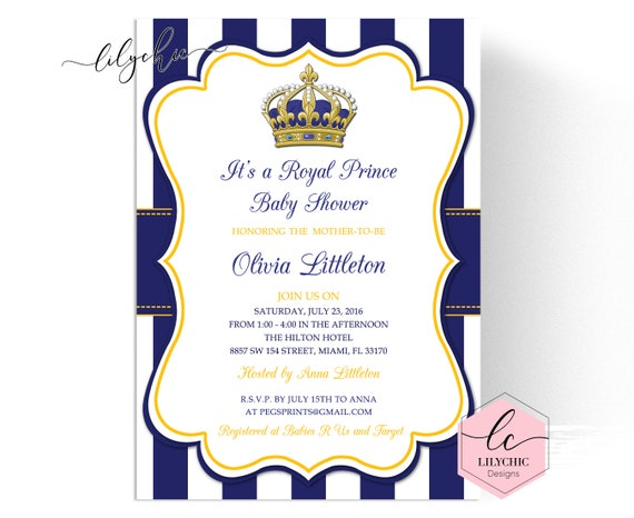 Royal Prince Baby Shower Invitations Little Prince Baby Shower