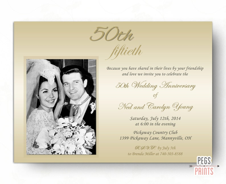 50th Wedding Anniversary Invitations 50th Anniversary Etsy