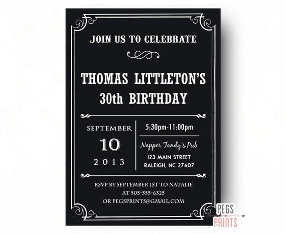 40th Birthday Invitation For Men Printable 30th Male