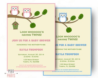 Twin baby shower invitation etsy twin baby shower invitation twin baby shower invites printable owl baby shower invitation filmwisefo