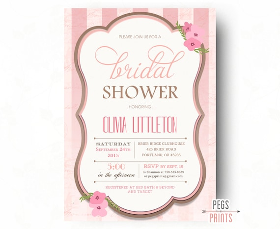 4b23a264ce29 Pink Shabby Chic Bridal Shower Invitations (Printable) Floral Bridal Shower  Invites - Elegant Bridal Shower Invitation - Bridal Invitations