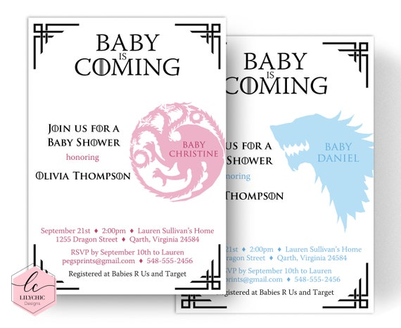 picture about Baby Shower Invitation Printable called Dragon Kid Shower Invitation - Match of Thrones Youngster Shower