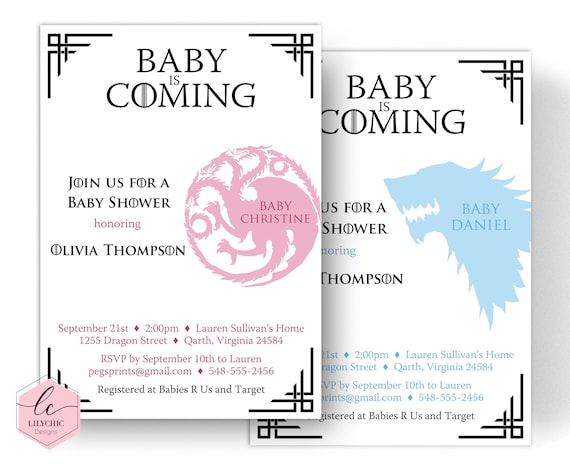 graphic about Baby Shower Templates Printable titled Dragon Child Shower Invitation - Sport of Thrones Child Shower