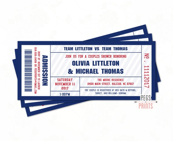 couples shower sports ticket invitation printable football etsy