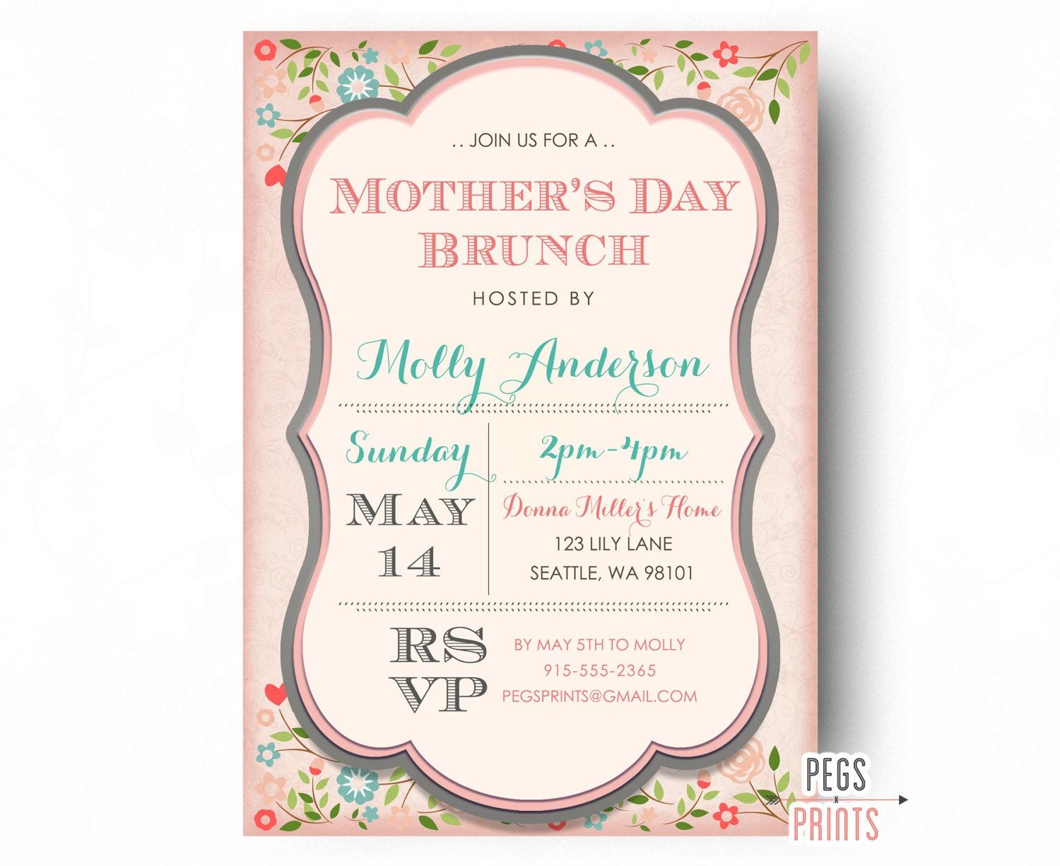 Mothers Day Brunch Invitation Printable Mothers Day