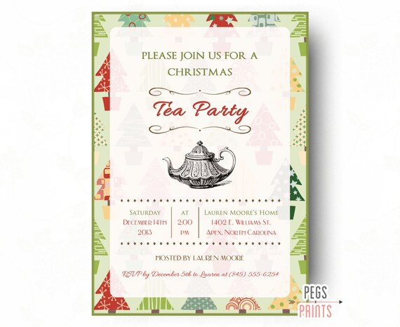 christmas tea invitation printable christmas tea party invitations