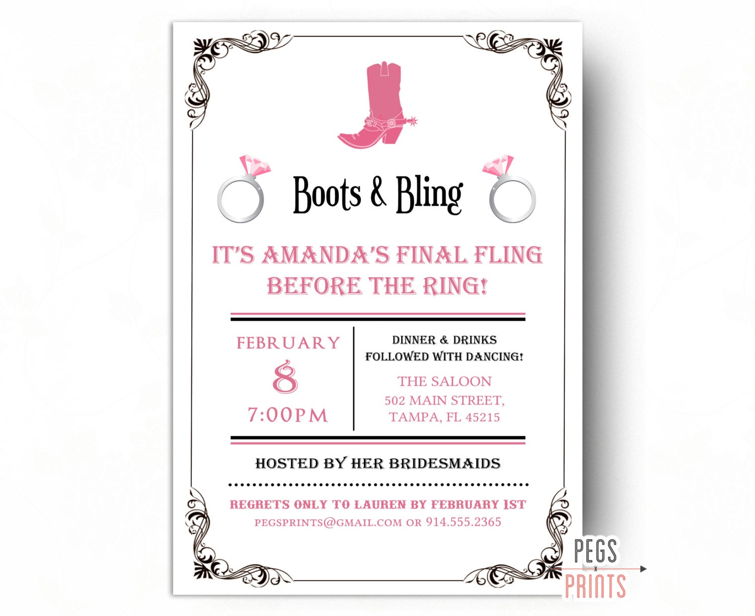 Boots and Bling Invitation Boots and Bling Bachelorette | Etsy