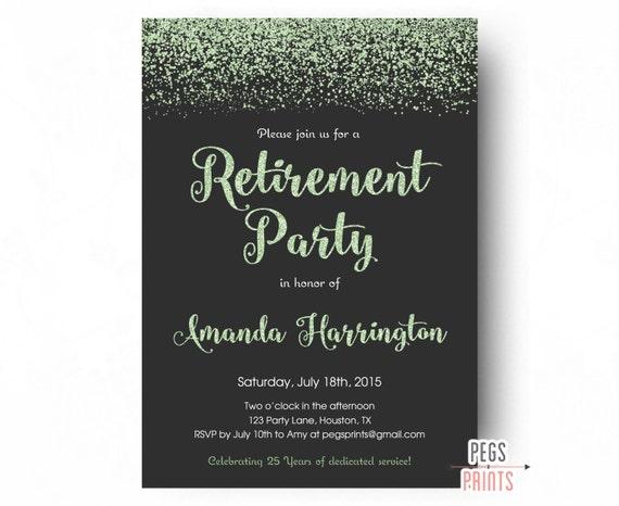 Mint Glitter Retirement Party Invitation Retirement Party