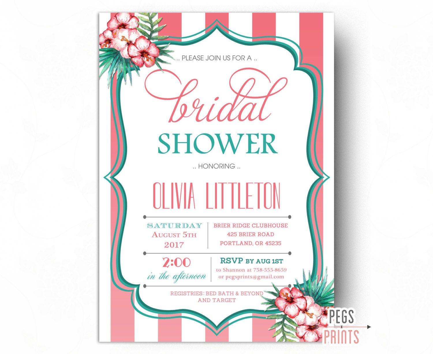 Tropical Bridal Shower: Tropical Bridal Shower Invitation Luau Bridal Shower