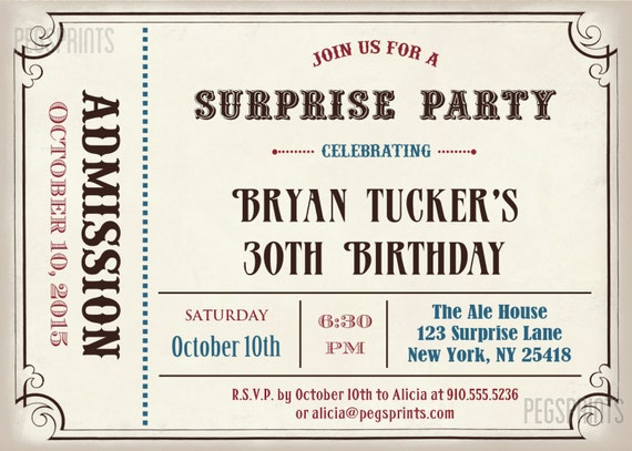male surprise birthday invite surprise birthday invitation etsy