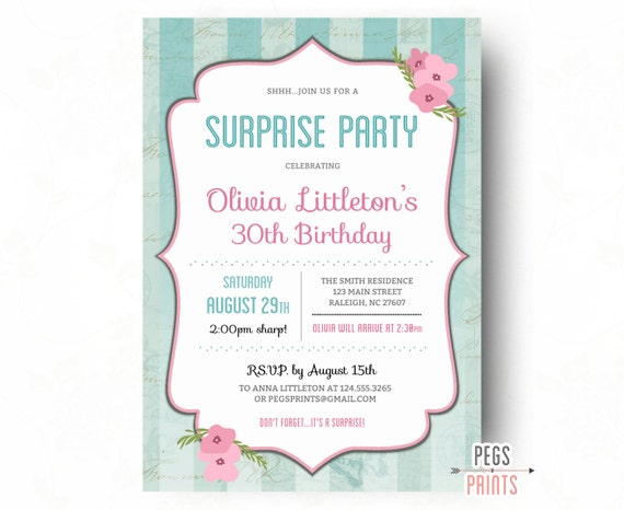 shabby chic surprise birthday invitations printable surprise 30th