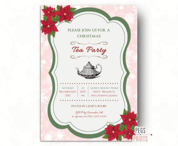 Printable Christmas Tea Party Invitations Unique Birthday Party