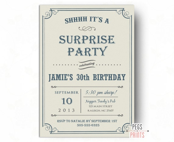Adult Surprise Birthday Party Invites Printable Surprise Birthday