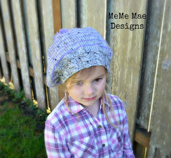KNITTING PATTERN Hat Pattern Slouchy Hat The Striped Cable  bae605e74df