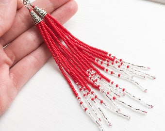 Vibrant Red and Silver Long Beaded Fringe Earrings - Red and Silver Beaded Earrings - Red and Silver Long Beaded Fringe Earrings - Gift