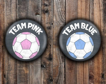 Pink and Blue chalkboard style soccer ball gender reveal pins