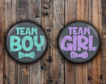 Chalkboard writing boy and girl gender reveal pins.  Teal and Purple.