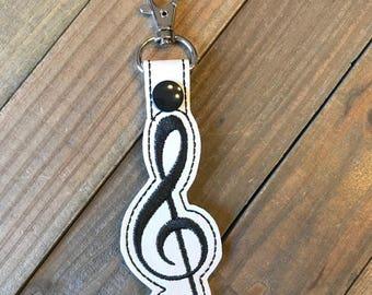 Key fob Key Chain applique music rainbow personalized music teacher gift musician gift