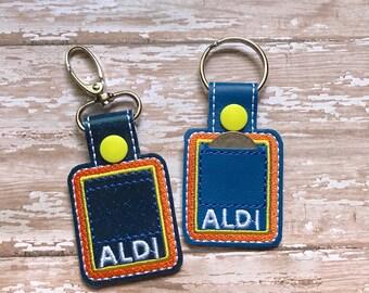 Aldi Quarter Holder, Aldi Keychain, Aldi Key Chain, Aldi Quarter Keeper, Snap Tab, Key Fob, Aldi Quarter Saver