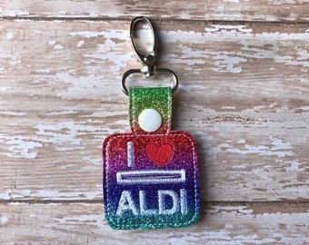 Aldi Quarter Keeper Aldi Keychain Aldi Key Chain Aldi Quarter Holder Snap Tab Key Fob Quarter Saver---70 Colors