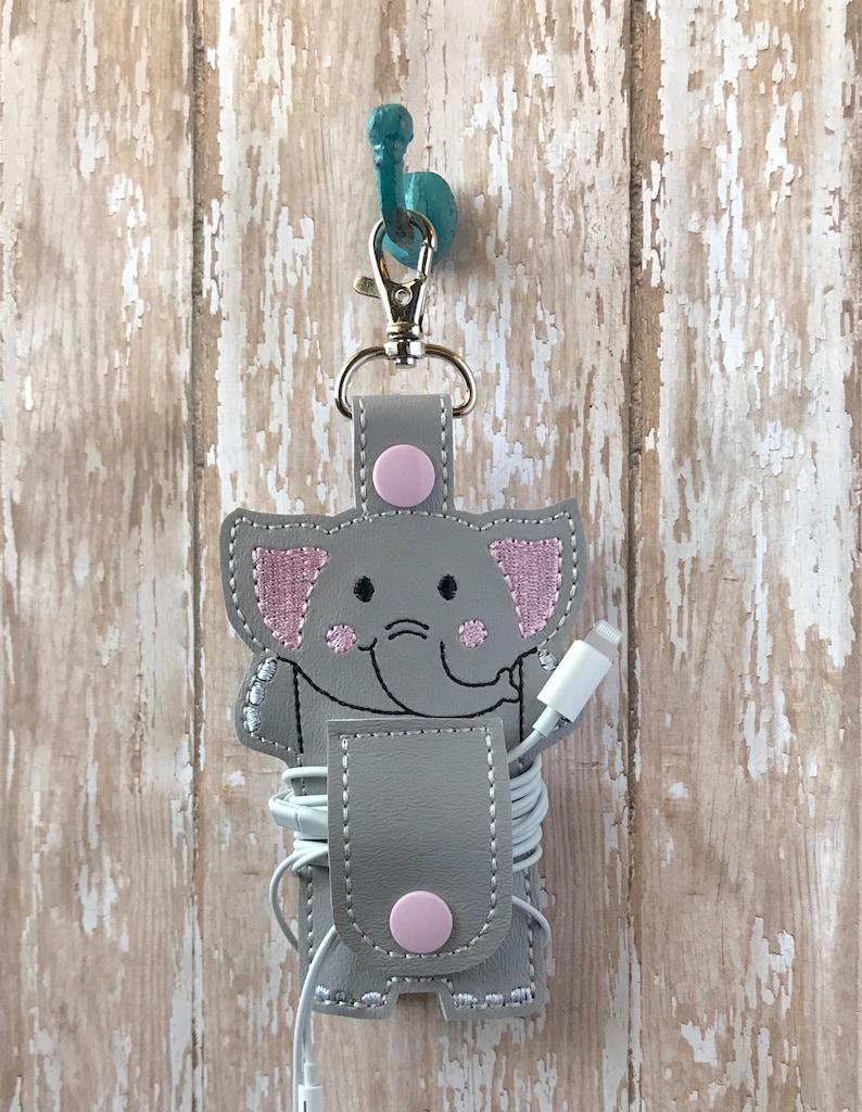 Elephant Cord Organizer Earbud Holder Elephant Cord Wrap Keychain Elephant Ear Bud Wrap Earphone Holder Elephant Ear Bud Holder