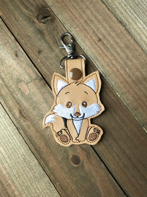 Fox Keychain Fox Key chain Fox Key Fob Embroidered Fox Bag  99c83f814