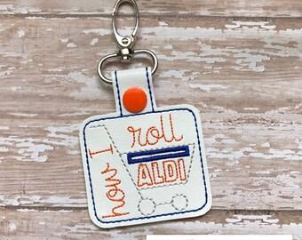 Aldi Quarter Keeper, How I roll Aldi Keychain Aldi Key Chain Aldi Quarter Holder Snap Tab Key Fob Quarter Saver---70 Colors