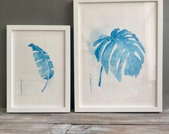 Botanical Art, Set Of 2, Original Watercolor Leaf, Contemporary Fine Art, Tropical Leaf, Botanical Wall Art, Modern Art, Art Lover Gift,