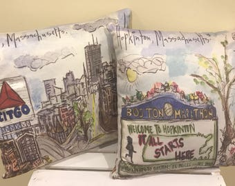 "Marathon Themed Hopkinton/Boston Throw Pillow 16""x16"""