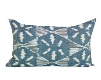 Darjeeling Ikat lumbar pillow cover in Denim