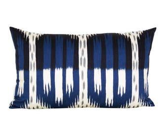 Bukhara Ikat lumbar pillow cover in Indigo