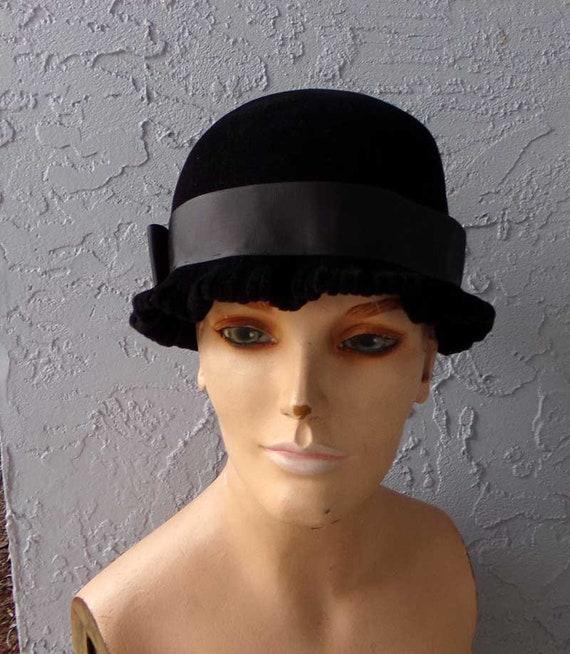 Cloche hat, black cloche hat, flapper hat, black f