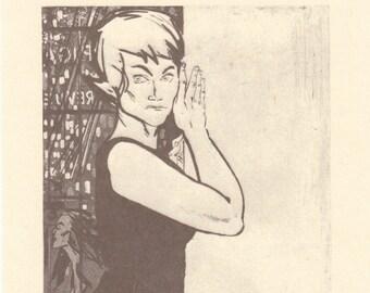 Estonian Art Printed in 1989 Estonian Painter Blank Art Postcard from Soviet Times Women V by Evald Okas