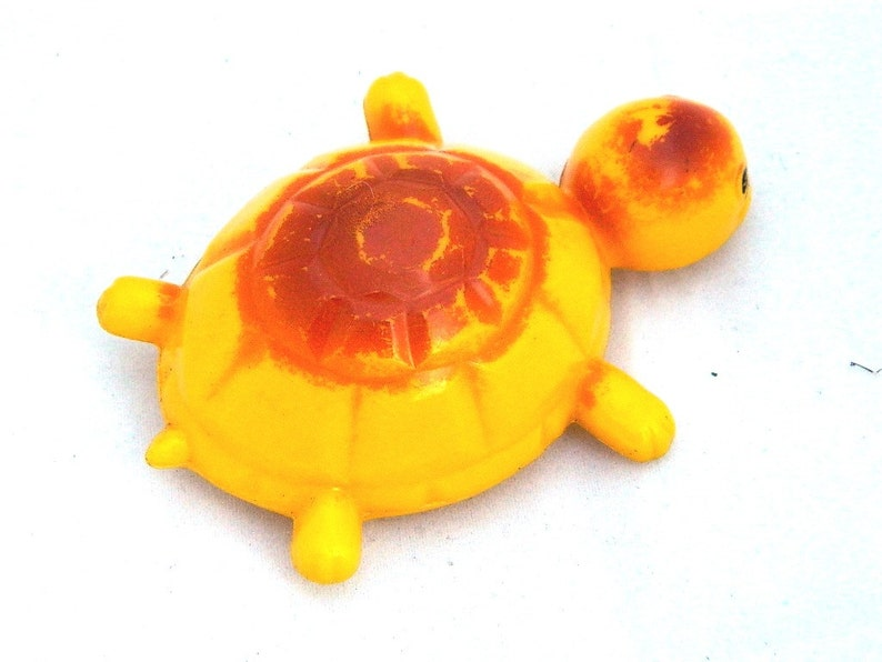 made in USSR Old Plastic Toy Soviet Plastic Toy Yellow celluloid turtle from 60s Celluloid Toy