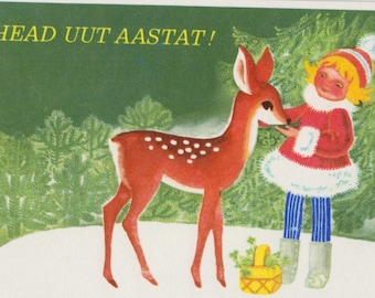 Blank vintage Christmas/New Year  postcard with winter, forest, girl and deer from Soviet times - 70s by U. Sampu