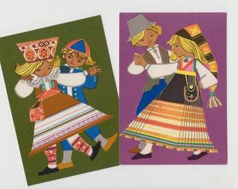 Colorful vintage postcard set of 2 from 70s - Estonian Folk Costumes - Dance Festival - Greeting Card - artist M Fuks - Estonian Traditions