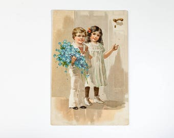 Antique postcard from 1910s - Vintage Postcard - Vintage Birthday Postcard with Cute Children and flowers