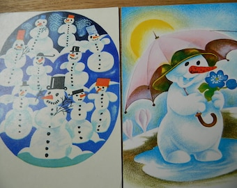 Set of 2 unused vintage Christmas/New Year  postcard with snowman from Soviet times - 70s-set of 2