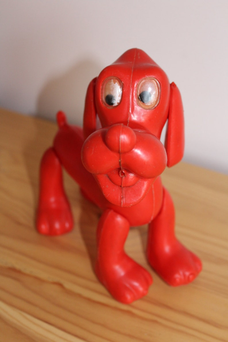 Pluto Soviet Toy Cartoon Character Made in USSR Red Dog Plastic Toy Soviet Plastic Toy