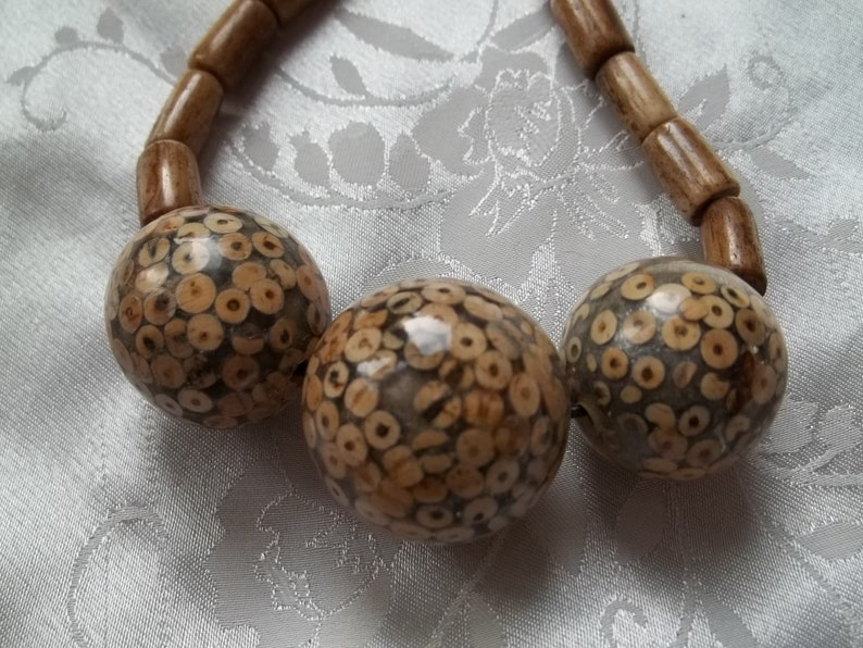 Dyed Bone and Wood Bead Statement Necklace Chunky Jewellery 24 Beige Brown #BN10
