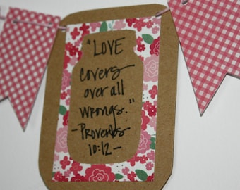 """Mini Scripture Bunting- """"Love covers all wrongs"""" (Proverbs 10:12) - Option 1"""