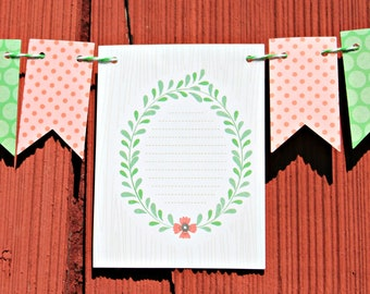 Green and Pink Bunting