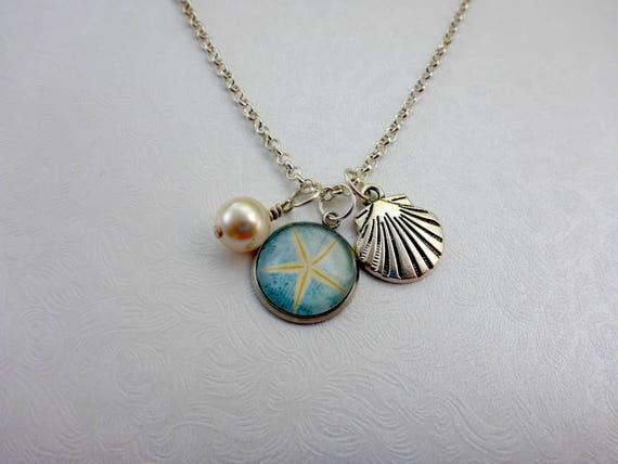 UK BOHO MANDALA SHELL CHARM MULTI LAYER NECKLACE Silver Beach Ocean Jewellery