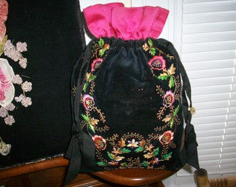 Exquisite silk velvet embroidered bag