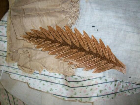 """VINTAGE 1930/'s VELVET LEAVES Large 7/"""" USA Hand Made 1 Leaf"""
