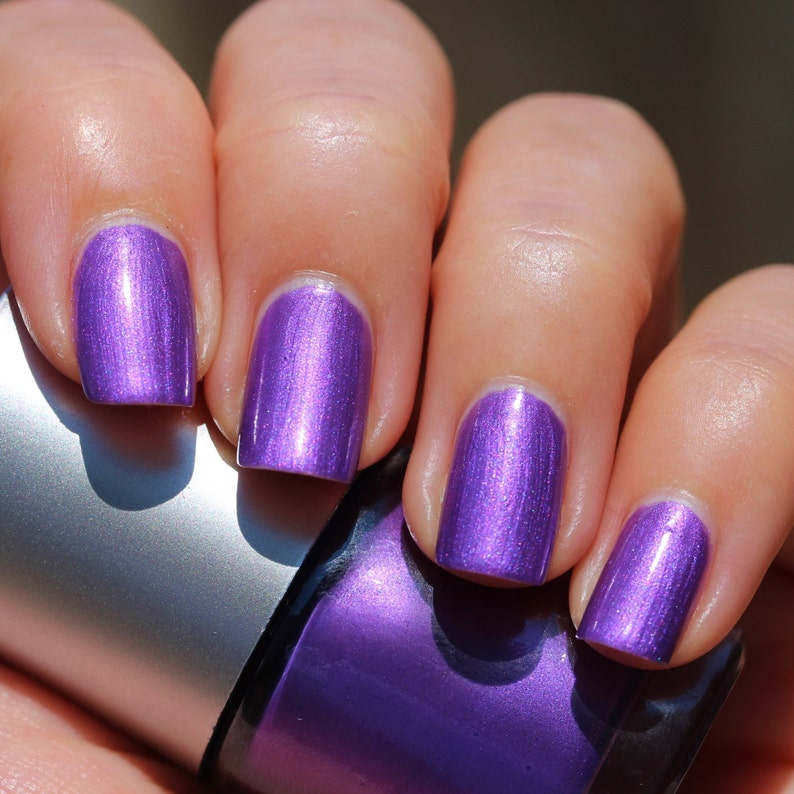 Urchin Franken Nail Polish - Bright purple color with pink shimmer