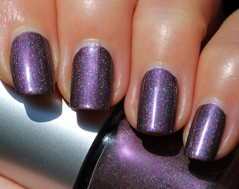 Sugar Plum Fairy Franken Nail Polish - Taupe/plum, holographic and duochrome pink/purple shimmer